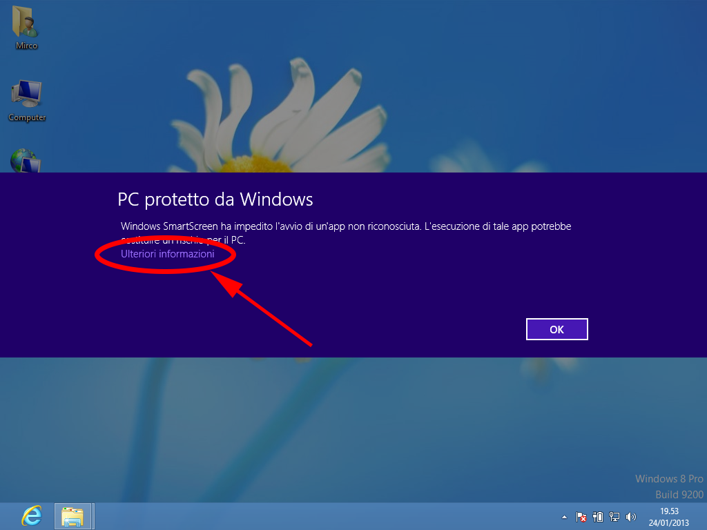 Errore smart screen windows 8